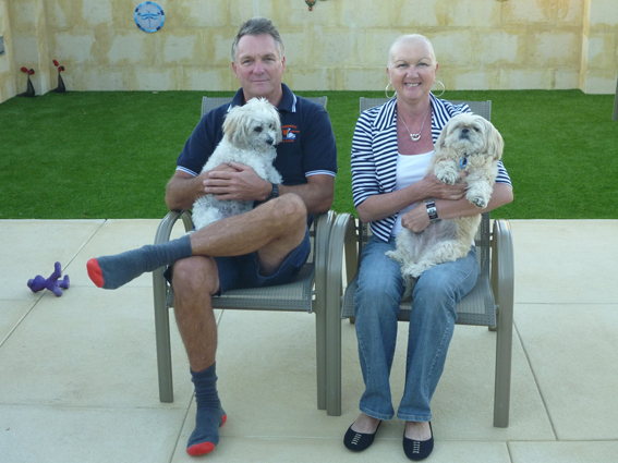 Graham & Linda with 'Ozzie' & '', my hosts a Halls Head, Mandurah, WA