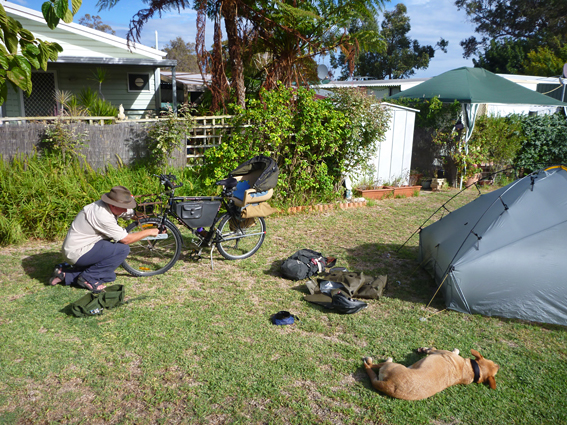 Putting the bike back together after the flight over, Wanneroo Caravan Park